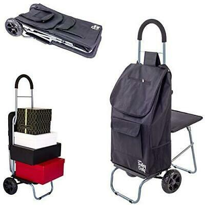 Dbest Products Trolley Dolly With Seat Black Shopping Grocery Foldable Cart