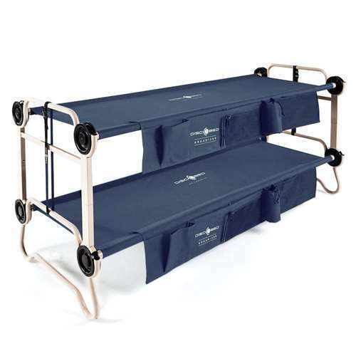 Disc-O-Bed Large Cam-O-Bunk Bunked Double Cot w/ Organizers, Navy Blue(Open Box)