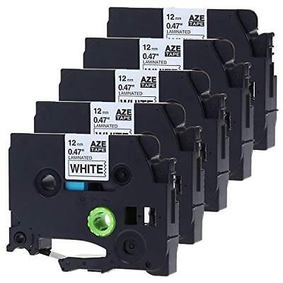 5pk Tze231 P-touch Label Tape Black On White Compatible For Brother 12mm8 Tz231