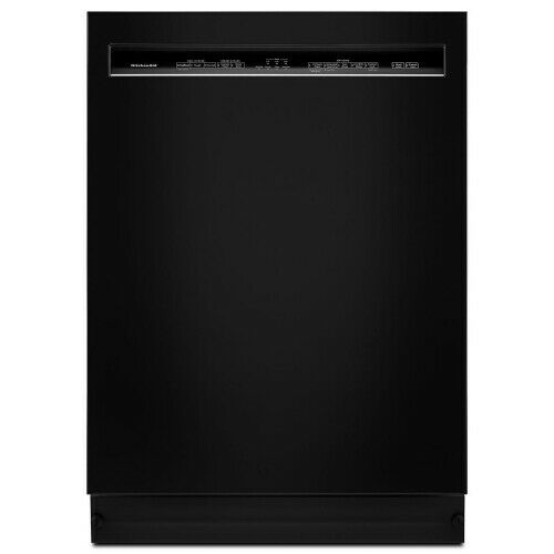 "KitchenAid 24"" Front Control Tall Tub Built-In Dishwasher with Stainless Steel Tub Black KDFE104HBL"