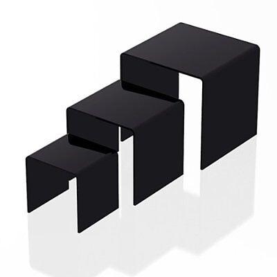 3pc Black Acrylic Riser Set Jewelry Holder Product Display Showcase 3 4 5