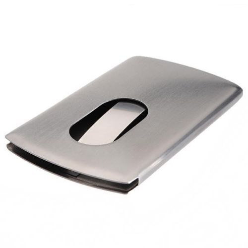 Stainless Steel Modern Thumb Slide Out Pocket Business Credit Card Holder Case