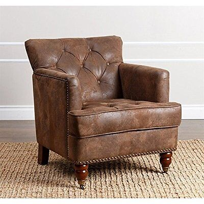 Button Tufted Brown Leather Accentuation Chair Antique Style Home Living Furniture NEW