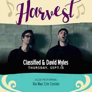 Looking for 3 tickets to Classified & David Myles at Harvest