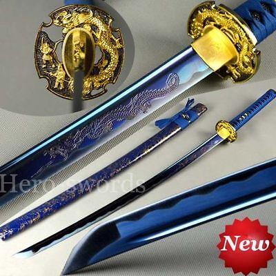 Japanese traditional Hand Made Full Tang Blue Dragon Samurai Katana Sword