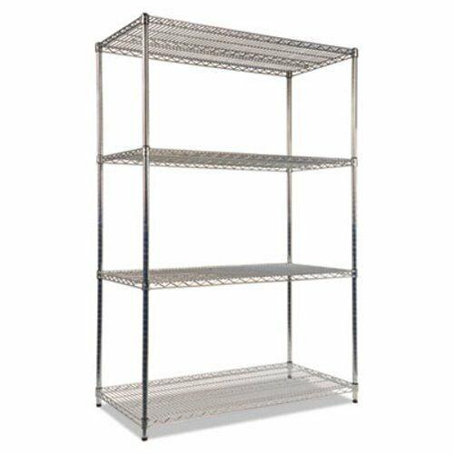 Alera Wire Shelving Kit, 4 Shelves, 48w x 24d x 72h, Silver (ALESW504824SR)