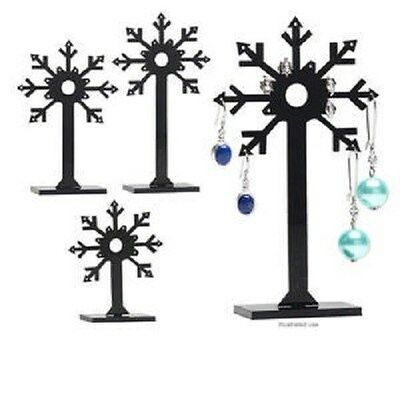Set Of 3 Earring -dangle Stud Black Acrylic Display Stands Snowflake 2814