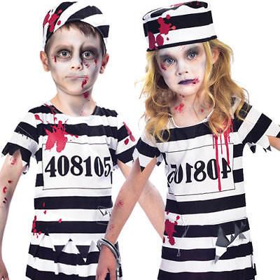 Zombie Convict Kids Fancy Dress Halloween Prisoner Uniform Boys Girls Costumes  - Girl Convict Halloween Costumes