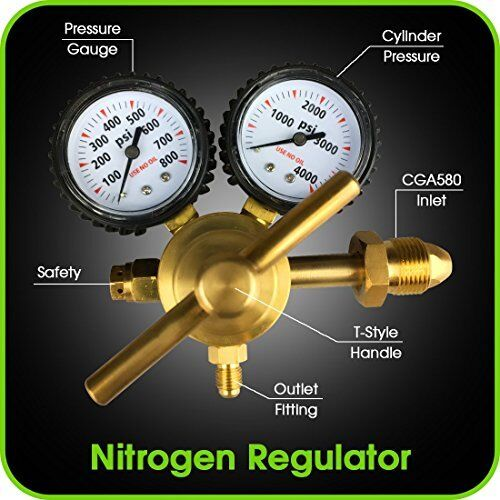 Nitrogen Regulator with 0-800 PSI -  CGA580 Inlet Connection and 1/4-Inch Male