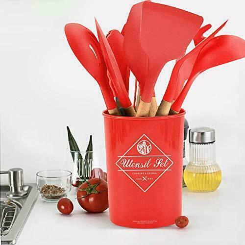 Set Utensili mestolo da Cucina in silicone antiaderente colore rosso