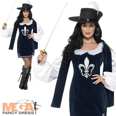 Female Musketeer Adult Fancy Dress Medieval Ladies Knight Costume Soldier Outfit ()