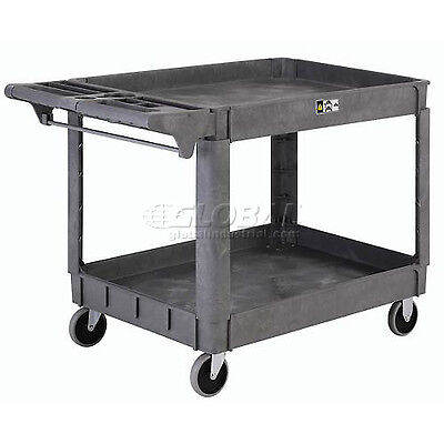 Large Deluxe 2 Shelf Plastic Utility Amp Service Cart 5 Rubber Casters
