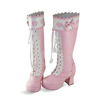 pink sweet lolita stiefel boot shoes Schuhe nana KOSTÜM botas süß cosplay - Bögen Kostüm Stiefel