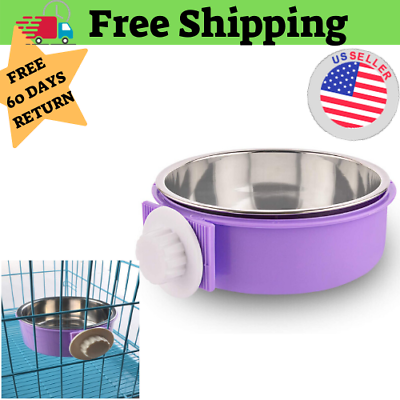 Crate Dog Bowl Stainless Steel Water Food Feeder For Cat Puppy Bird Pets Large