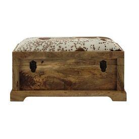 Genuine goatskin and wood ottoman brand new in box
