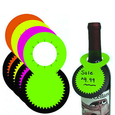 100 Bottleneck Tags - Fluorescent Neon Retail Bottle Sale Signs - 25 Each Color