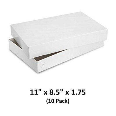 White Gloss Cardboard Apparel Decorative Gift Boxes 11x8.5x1.75 10 Pack