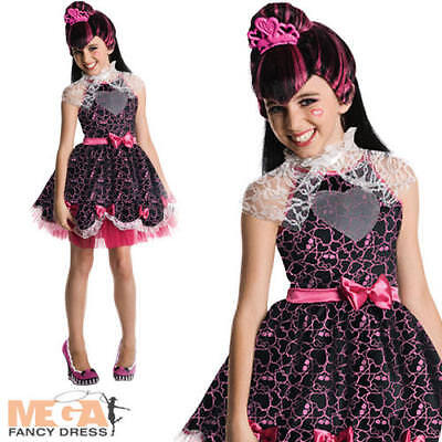 Draculaura + Wig Monster High Girls Fancy Dress Halloween Vampire Kids Costume ()