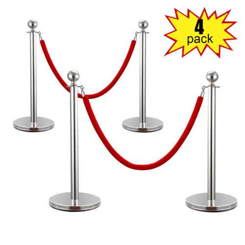 Velvet Rope Stanchion Silver Post Crowd Control Queue Line Barrier 4PCS