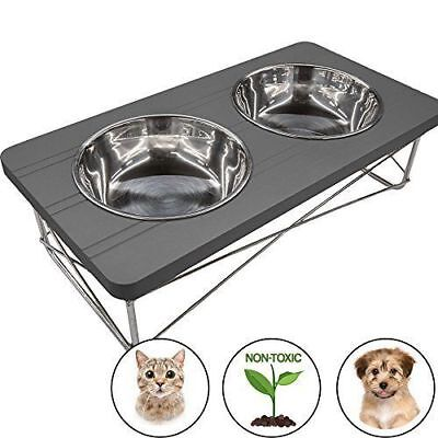 Elevated Raised Stainless Steel Double Bowl Food Water Dog Feeder Pet Dish Diner
