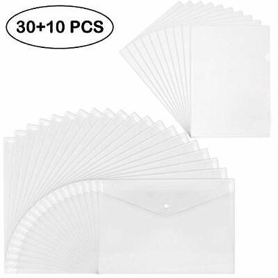 Clear Plastic Folders (EOOUT 40pcs Plastic Envelopes, 30 Clear Poly Waterproof Envelope Folders with)