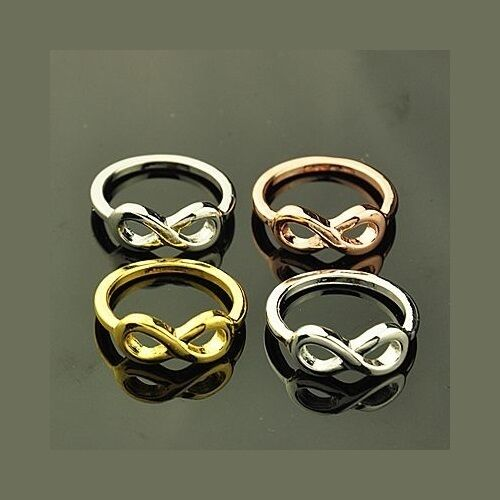 Wholesale Lot 24 Mixed Copper Gold Silver Tone Infinity Shiny Metal Rings Size 7