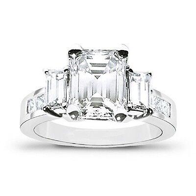 2.75 Ct. 3-Stone Emerald Cut w/ Princess Diamond Engagement Ring 18K F,SI1 GIA