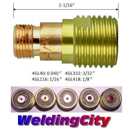 "WeldingCity 5-pk TIG Welding Torch STUBBY Gas Lens 4GL116 for 17//18//26 1//16/"""