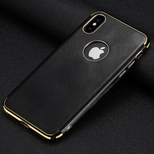 Plating Edge TPU + Leather Magnetic Protective Case for iPhone XR (Black)