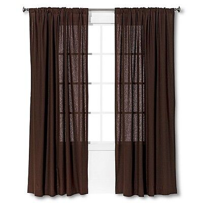 - Threshold Linen Look,  Linen Blend Brown Window Panel 84