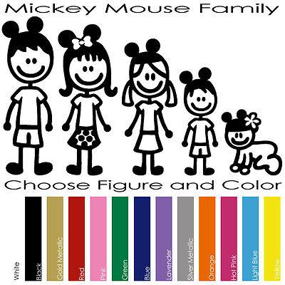 MICKEY MOUSE CUSTOM FAMILY FIGURES DISNEY WINDOWS VINYL DECAL STICKER (MMF-01)