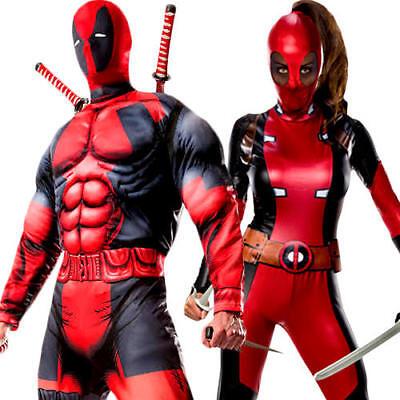 Deadpool Adults Fancy Dress Superhero Comic Book Day Week Mens Womens Costumes ()