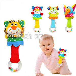 Lovely Kids Baby Soft Animal Model Handbells Rattles Handle Developmental Toy