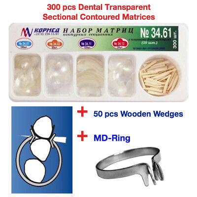 Dental Transparent Sectional Contoured Matrices Matrix 300 Pcs 50 Wedges Md Ring