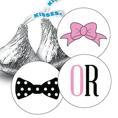 108 GENDER REVEAL BABY SHOWER HERSHEY KISS CANDY STICKERS - Bow or Bowtie](Gender Reveal Candy)