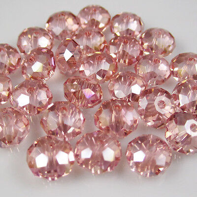 30pcs Faceted  Rondelle glass crystal #5040 6x8mm Beads water Red AB colors TA1