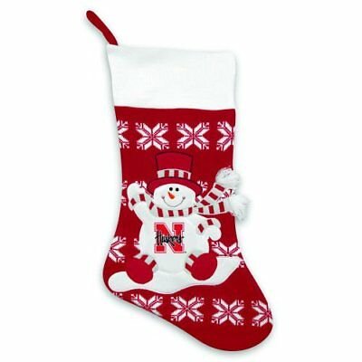 NEBRASKA CORN HUSKERS * LARGE KNIT SNOWMAN CHRISTMAS STOCKING * NEW W/ NCAA TAG