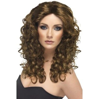 Ladies Wonder Woman Brown Wig 80's Glamour Fancy Dress Long Curly Hen Fun Night