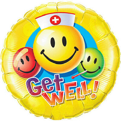 18-Inch Smiley Faces With Nurses Hat Get Well Balloon