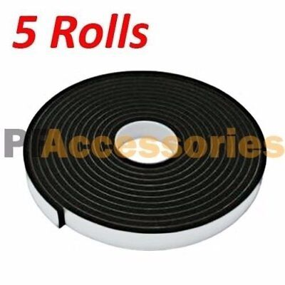 5 Roll 23 X 16 Ft Double Sided Faced Foam Attachment Adhesive Mount Tape Black