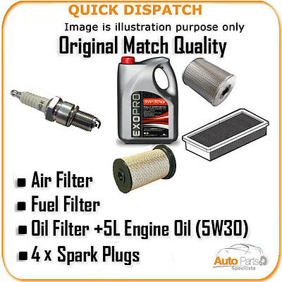 AIR OIL FUEL FILTERS 5L OIL  +4 X PLUGS FOR CITROEN SAXO 2 1.6 1999- AOF1409