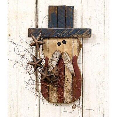 New Primitive Barn Wood Rusty Stars UNCLE SAM Patriotic Americana Wall Hanging