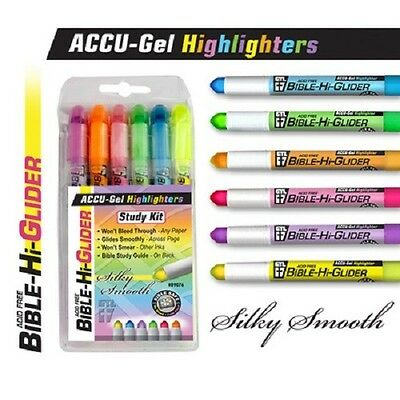 Set Of 6 Accu Gel Bible Book Hi Glider Highlighters Wont Bleed Thru 108383