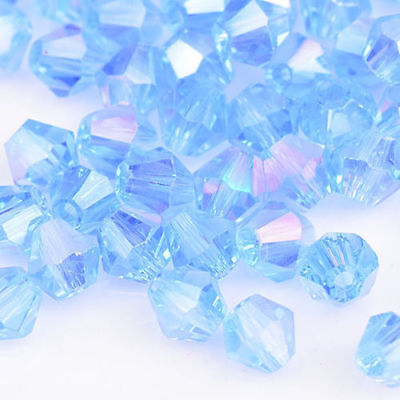 100pcs Rose AB exquisite Glass Crystal 4mm #5301 Bicone Beads loose beads^