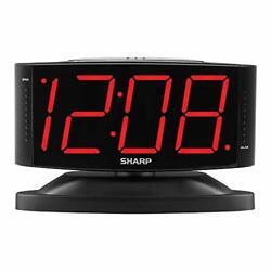 Large Digital Alarm Clock SHARP LED Display Swivel Base Electric Beep Snooze New
