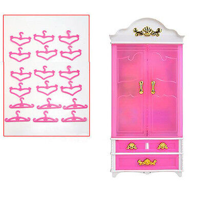 US Plastic Furniture Wardrobe & 20pPCS Clothes Hangers  For Barbie Doll Pink