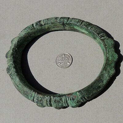 an ancient african bronze copper african bracelet djenne mali sub sahara #165