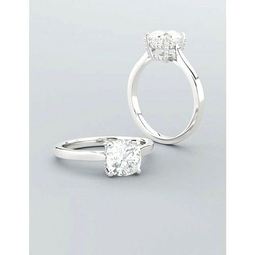 1.76 Ct Cushion Cut Solitaire Diamond Engagement Ring Micro Pave H,IF GIA Plat