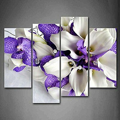 Ivory And Dark Purple Flower Wall Art Painting Picture Print Canvas In Decor