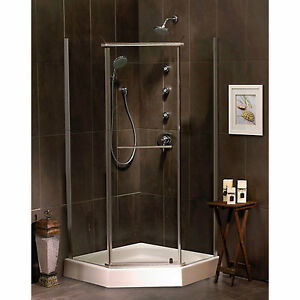 New 38 inch neo angle clear shower door